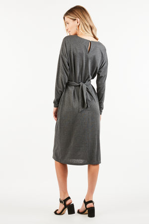 AUBREE FRONT TWIST KNOT MIDI DRESS