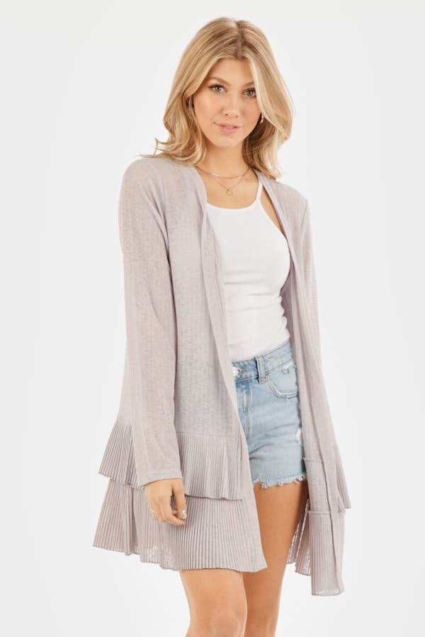 LONG SLEEVE THIN KNIT TIERED CARDIGAN