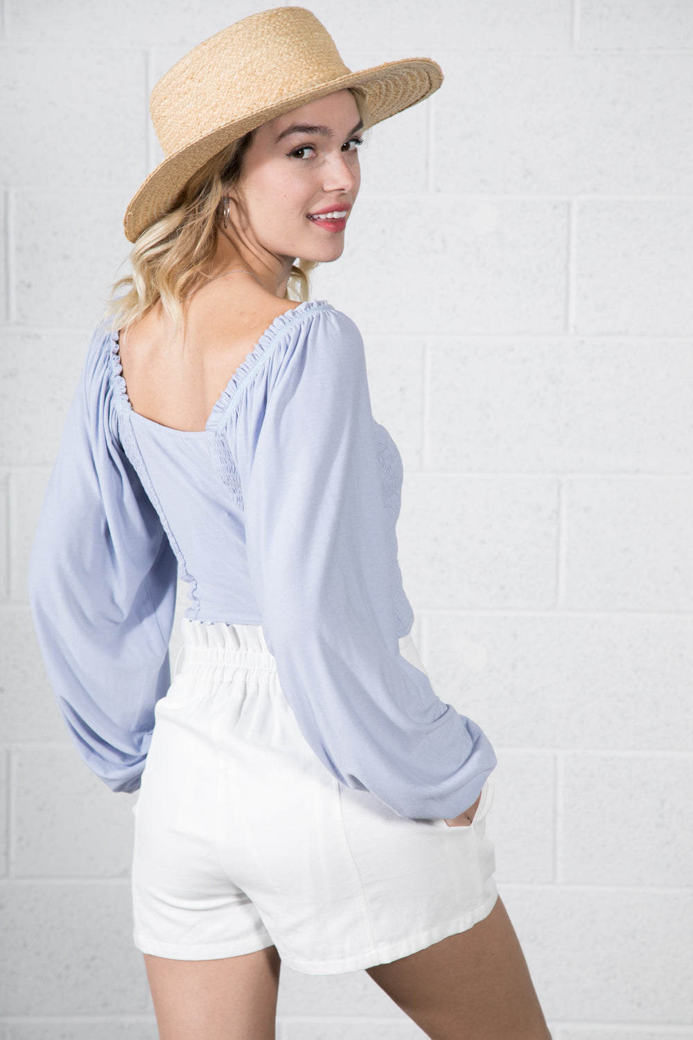 Marina Smocking Button Top