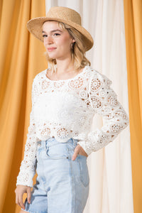 Malia Crochet Knit Top