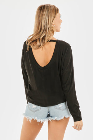 LONG SLEEVE BASIC KNIT TOP WITH OPEN BACK