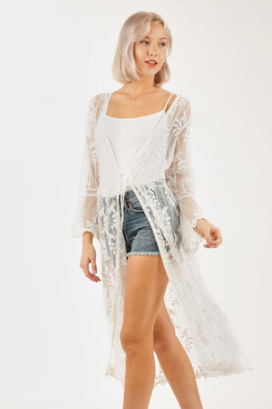 MID LENGTH MESH LACE KIMONO WITH WAIST TIE FEATURE