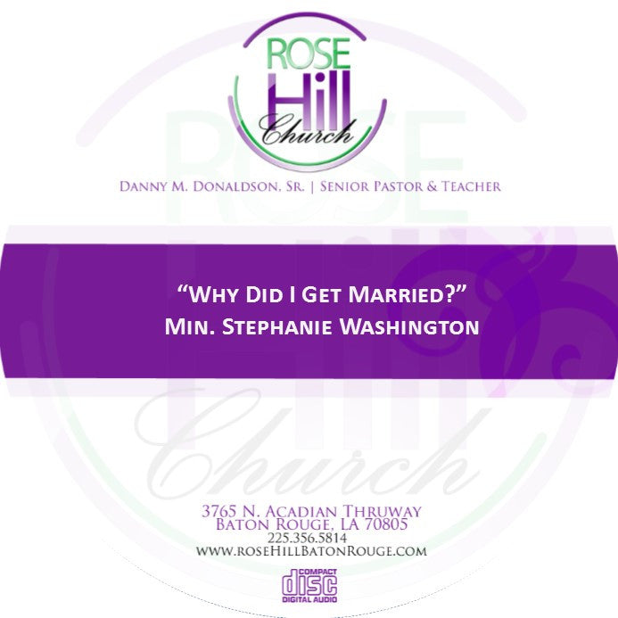 Why Did I Get Married - Min. Washington (CD)