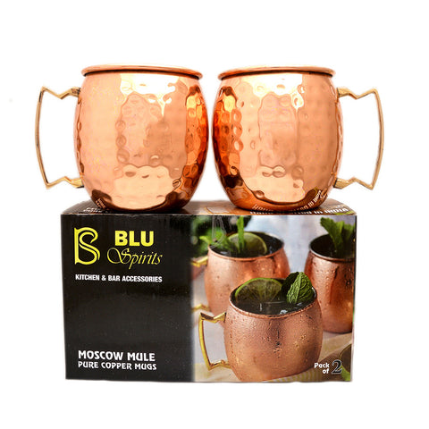BluSpirits 100% 16 Oz Hammered Moscow Mule Copper Mug Set of 2 for  Cocktails &