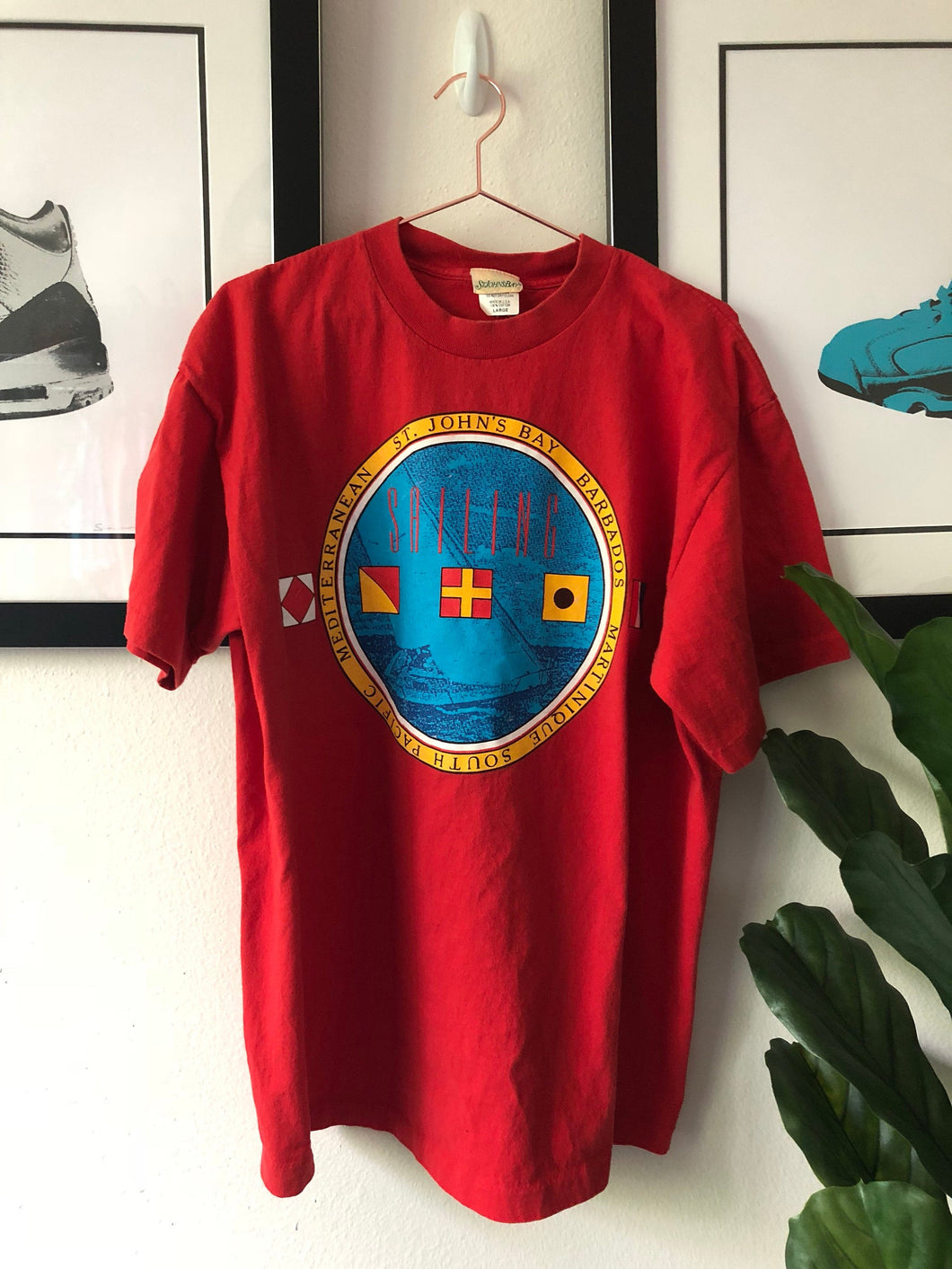 Vintage St. Johns Bay Nautical Red Graphic T-Shirt - ctwentytwo