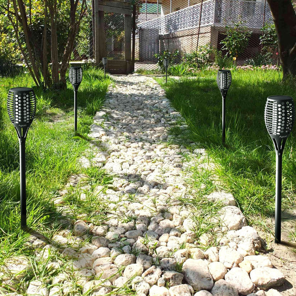 Zugo Solar Path Dancing Flame Tiki Torch Light (2 Pack) demo