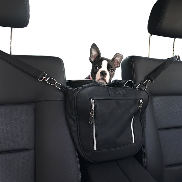Jetsetter - Premium Car Seat & Airport Compliant Pet Carrier (Black, White, Grey & Pink)