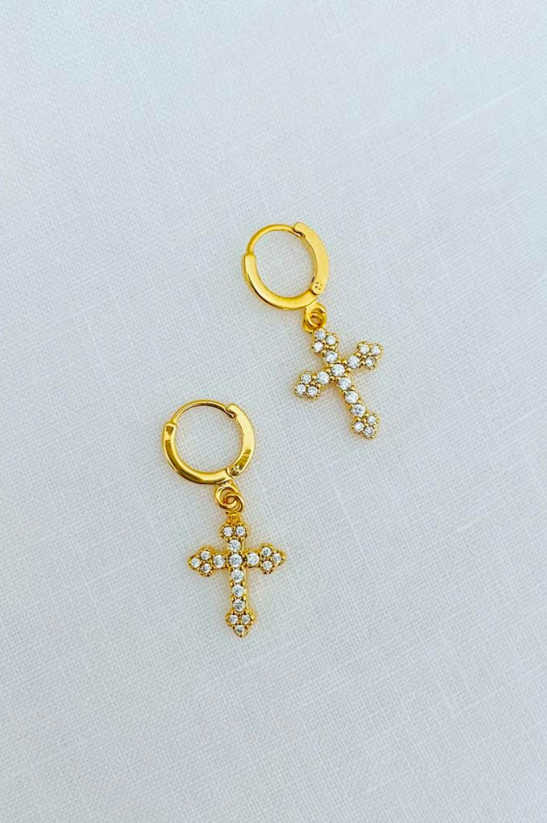 Pave Cross Huggie Hoops