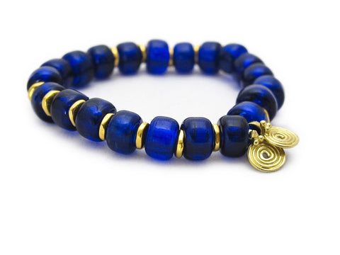 COBALT BLUE GLASS SPIRA BRACELET