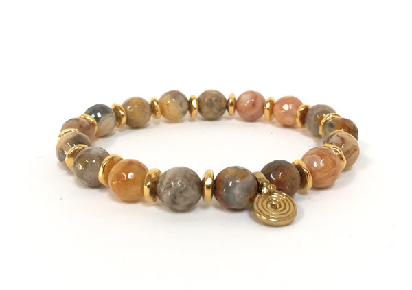 BROWN MIXED AGATE SPIRA BRACELET