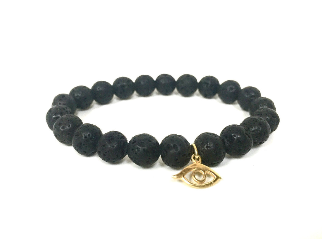 BLACK LAVA SMALL EYE BRACELET