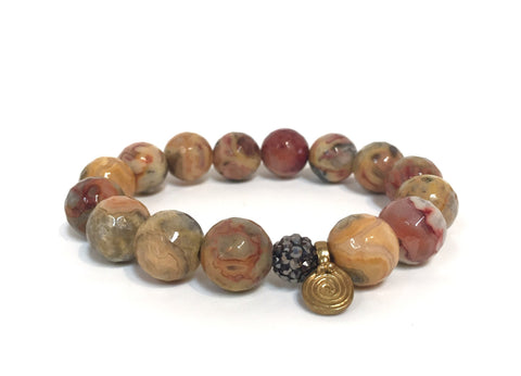 BROWN MIXED AGATE HEMATITE BRASS SPIRA BRACELET