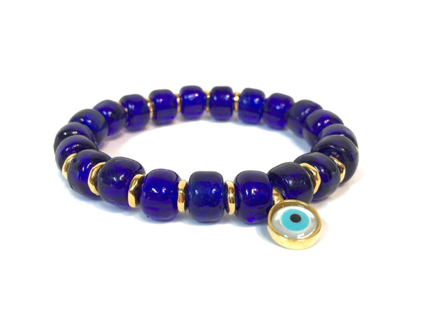 COBALT BLUE GLASS EVIL EYE BRACELET