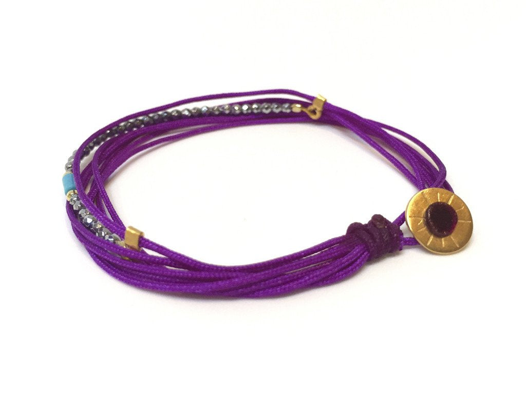 STRING BRACELET PURPLE + HEMATITE