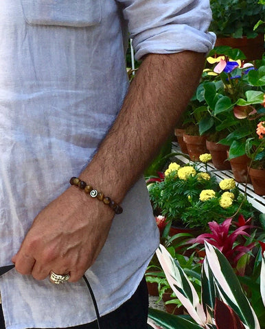 MATTE TIGERS EYE SPIRA BRACELET - MENS