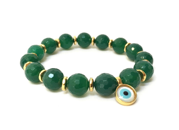 GREEN AGATE EVIL EYE BRACELET