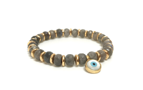 LABRADORITE FACETED EVIL EYE BRACELET