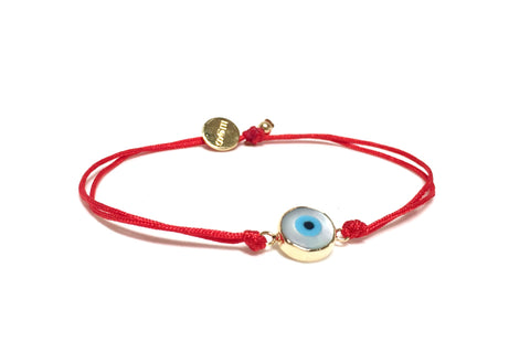 RED STRING BRACELET WITH 14K GOLD EVIL EYE CHARM