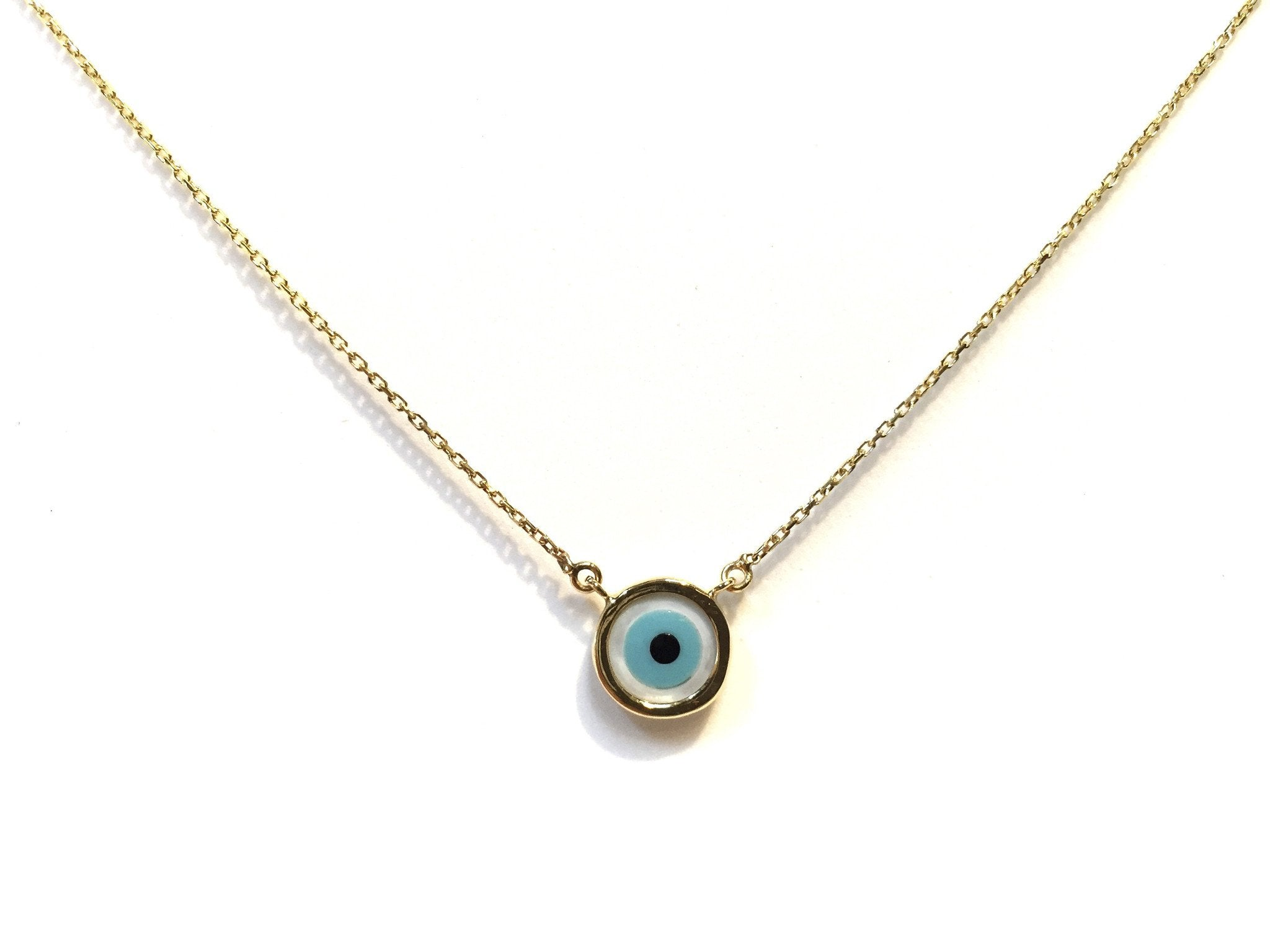 eye small nazar sterling evil turquoise concave products necklace round pendant copper safir silver