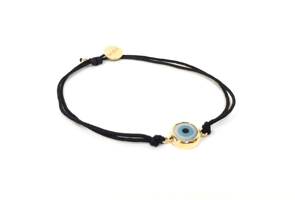 BLACK STRING BRACELET WITH 14K GOLD EVIL EYE CHARM