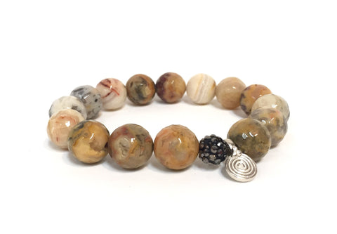 BROWN MIXED AGATE HEMATITE STERLING SILVER SPIRA BRACELET