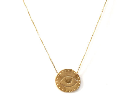 14K GOLD NECKLACE WITH EVIL EYE CHARM