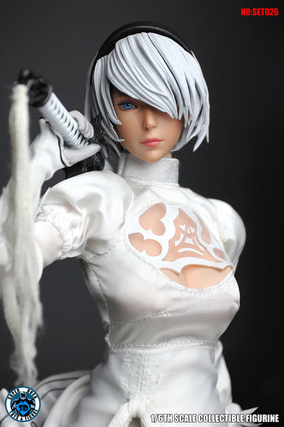 1/6 Scale Cosplay 2B Head Sculpt & White Outfit Set by Super Duck Toys