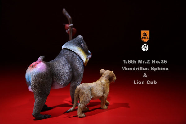 1/6 Scale Mandrillus Sphinx & Lion Cub Figure Set (MRZ035) by Mr.Z