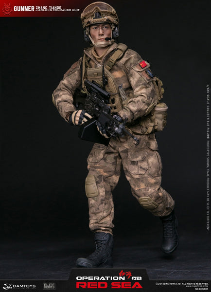 "1/6 Scale Red Sea PLA Navy Marine Corps ""Jiaolong"" Special Operations Brigade - Machine Gunner Zhang Tiande Figure by DamToys"