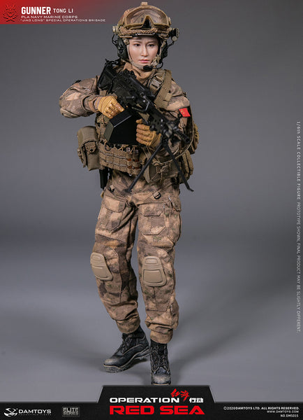 "1/6 Scale Red Sea PLA Navy Marine Corps ""Jiao Long"" Special Operations Brigade Gunner - Tong Li Figure by DamToys"