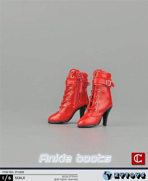 1/6 Scale Women's Side-Zip High Heel Leather Boots ( 3 Colors ) by ZY Toys