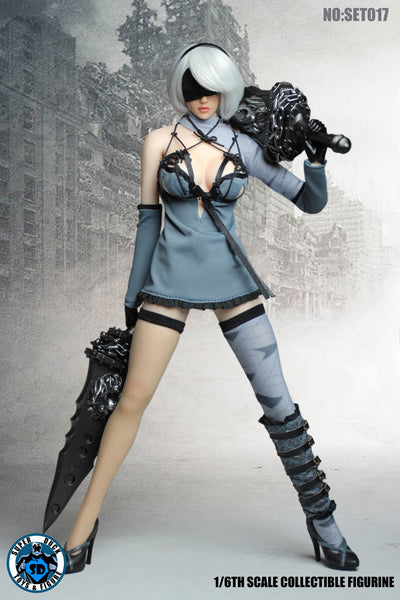 1/6 Scale 2B Cyborg Head Sculpt & Blue Outfit Set by Super Duck Toys