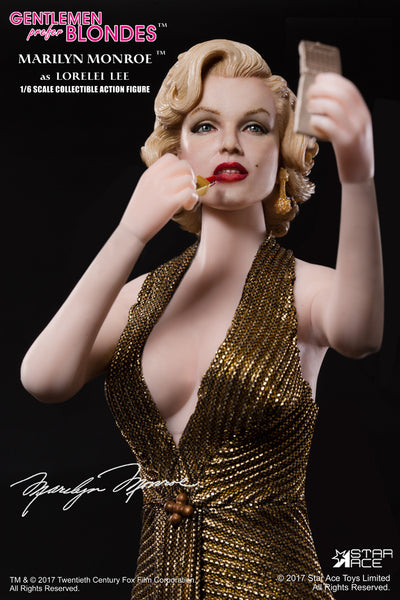 1/6 Scale Marilyn Monroe Lorelei Lee Gold Dress Figure by Star Ace Toys