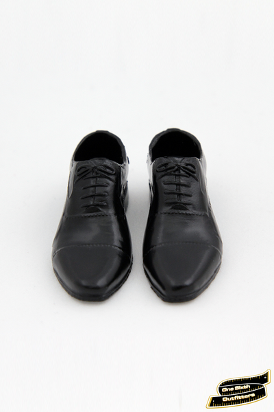 1/6 Scale Men's Black Cap Toe Oxford Dress Shoes
