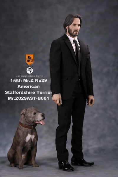 1/6 Scale American Staffordshire Terrier Dog Figure (2 Versions) by Mr.Z