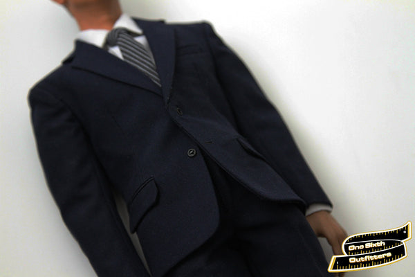 1/6 Scale Custom Mens Navy Suit by One Sixth Outfitters