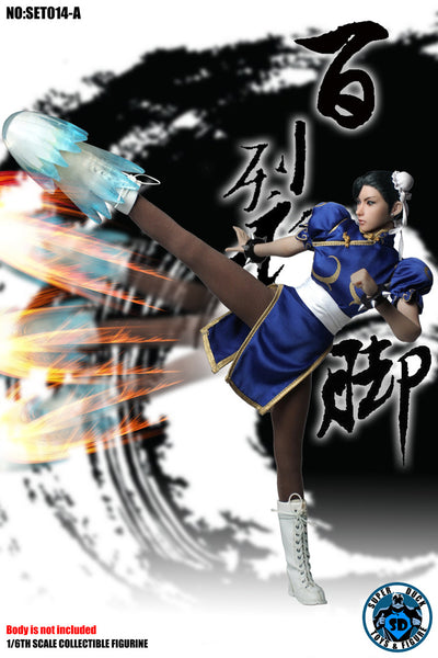 1/6 Scale Chinese Martial Arts Fighter Blue Outfit by Super Duck Toys