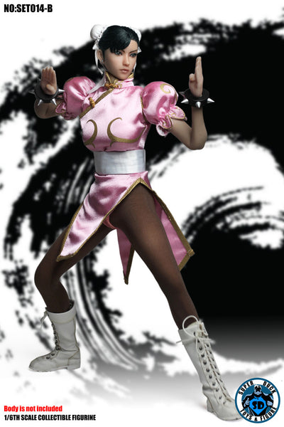 1/6 Scale Chinese Martial Arts Fighter Head Sculpt & Pink Outfit by Super Duck Toys