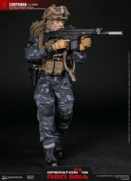 1/6 Scale PLA Navy Marine Corps Jiao Long Special Operations Brigade Operator Corpsman - Lu Chen Figure by DamToys