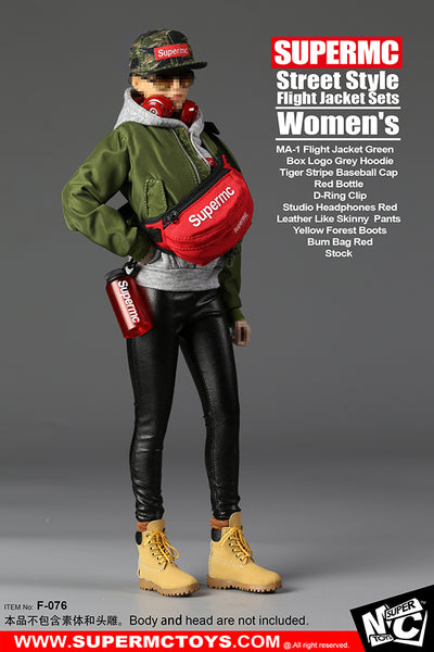 1/6 Scale Women's MA-1 Flight Jacket Streetwear Outfit Set by SuperMC Toys