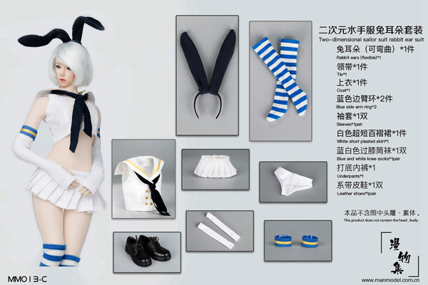 1/6 Scale Sailor Bunny Outfit Set (4 Colors) by ManModel