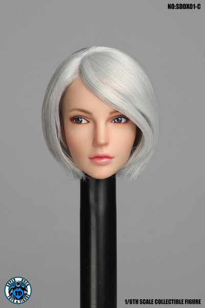 1/6 Scale Female Head Sculpt with Movable Eyes (3 Hair Styles) [SUD-DX01] by Super Duck Toys
