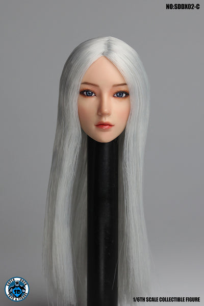 1/6 Scale Female Head Sculpt with Movable Eyes (3 Hair Styles) [SUD-DX02] by Super Duck Toys