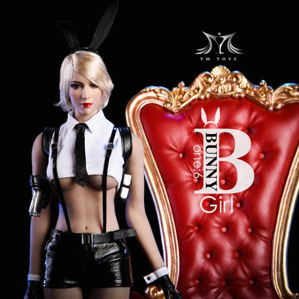 1/6 Scale Head Sculpt & Bunny Girl Outfit Set (Blonde Hair) by VS Toys