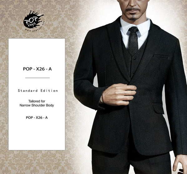 1/6 Scale Mens Suit (Black) X26A by PopToys