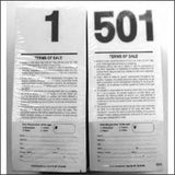 Pre-Numbered Stock Bid Cards w/ Registration Stub <br>(500/pack) Black #/Black Ink