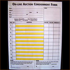 On-Line Auction Consignment Form, 2 Part (100/Pack)