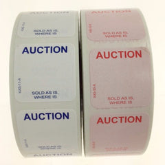 "1"" x 1"" AUCTION Label, E-Z Off or Super Stick (1000/roll)"