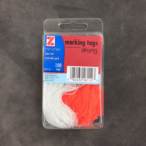 Fluorescent Orange Strung Tags (100/Pack)