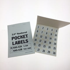 NEW Numbered Pocket Labels (500 per book) 3/4 inch round